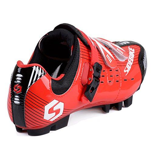 Unisexe respirant chaussures de vélo professionnels pour route et VTT SD-003 Noir / Rouge pour le VTT