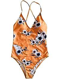 d9b0a8e69946 Angelof Femme Maillot de Bain Elégant Ensemble avec Imprimé Sexy Fine  Bretelle Marquer La Taille Bikini