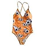 QingJiu Damen Einteiler Monokini Bademode Bikini Beach Badeanzug Gepolsterte Beachwear (Gelb, Medium)