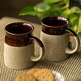 #3: ExclusiveLane 'Cocoa Rims' Studio Pottery Tea & Coffee Mugs in Ceramic (Set of 2) - Coffee Mugs Milk Mugs Ceramic Cups Set Coffee Cup Set Cups for Milk Tea Coffee Serving Pieces Glassware Drinkware