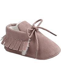 etrack-online Infant Boys Fringe de piel sintética ante cordones mocasín zapatos de cuna