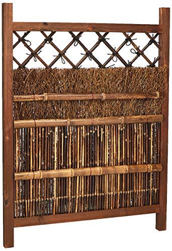 ORIENTAL FURNITURE Japonés oscuro mancha de madera y bambú puerta de