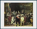 Bild mit Rahmen Harmensz. van Rijn Rembrandt - Die Nachtwache, 1642 - Holz blau, 71.2 x 56.0cm - Premiumqualität - MADE IN GERMANY - ART-GALERIE-SHOPde