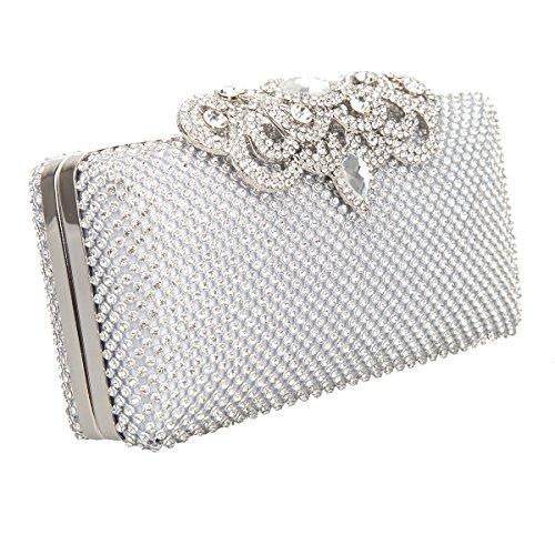 Bonjanvye Glitter Crown Clutch Purse Bling Crystal Rhinestone Bag Black Silver
