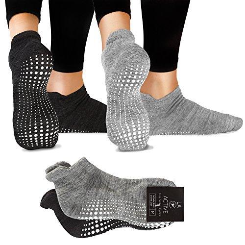LA Active Grip Socken - 2 Paar - Yoga Pilates Barre Ballet Abs Noppen Rutschfeste (Grau und Schwarz)