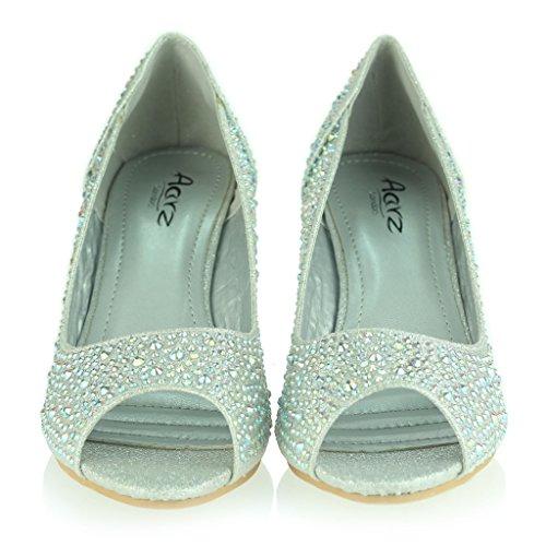 Frau Damen Peeptoe Diamant Verschönert Mittlere Keilabsatz Abend Party Hochzeit Abschlussball Braut Sandalen Schuhe Größe Silber