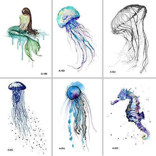 Temporäre Tattoo-Aufkleber Qualle Temporäre Tätowierung Für Erwachsene wasserdichte Tätowierung Aufkleber Ozean Tier Frauen Kunst Fake Tattoo 12 Stück