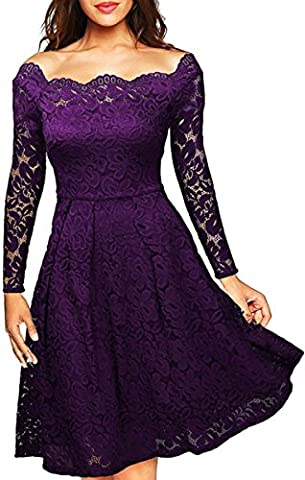 Meyison Damen Vintage 1950er Off Schulter Spitzenkleid Knielang Festlich Cocktailkleid Abendkleid Rockabilly Kleid Violett-XL