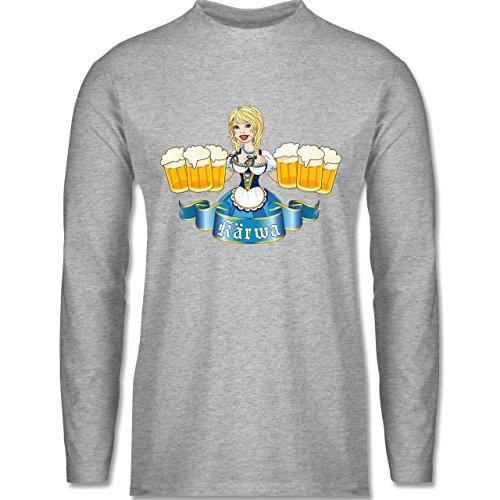 Oktoberfest Herren - Kärwa Mädel - Longsleeve / langärmeliges T-Shirt für Herren Grau Meliert