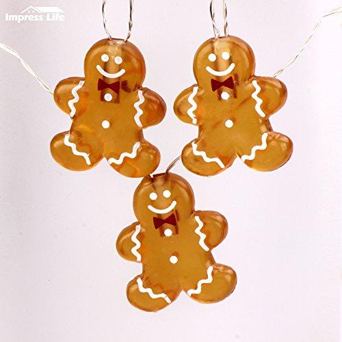 (Weihnachtsdekoration Lichterkette Batterie, Lebkuchenmann Neujahr Dekorative Beleuchtung 10 ft 20 LEDs (großes Symbol) mit Fernbedienung für Weihnachtsbaum, DIY Home Geburtstag Hochzeitsfeier)