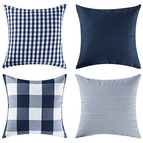 Miulee confezione da 4 federe per cuscini stampato fodere in cotone decorativi quadrato per divano letto auto 45x45cm blu