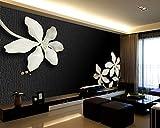 Wh-Porp Große Schwarz-Weiß-Blumen-Wandbild Tapete Papel 3D-Wand Fototapeten Für Wohnzimmer Und Tv-Hintergrund 3D-Wand-Wandbild-Aufkleber-128Cmx100Cm