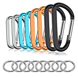 8PCS 8CM Carabiner Keychain Clips with Keyring,Paracord 550 Hook Pack for Outdoor Backpack Hiking Traveling and Key Chain Ring(Multi-Color)