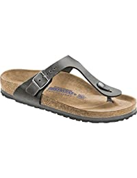 5436dbcb8c2 Birkenstock Mens Gizeh Soft Footbed Sandals Narrow Width in Grey- Oiled  Leather
