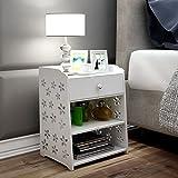 MThomes Modern weiß Nachttisch Schrank mit einer Schublade weiße blumen Maße ca .: 49.3 x 39.3 x 29.3cm(H x W x D)