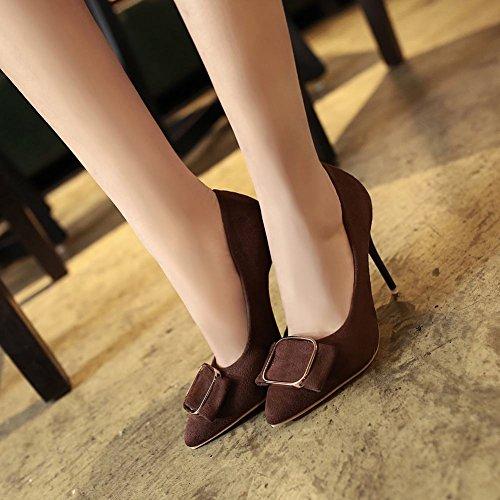 Mee Shoes Damen Stiletto Nubuck runde Pumps Kaffee-Farbe