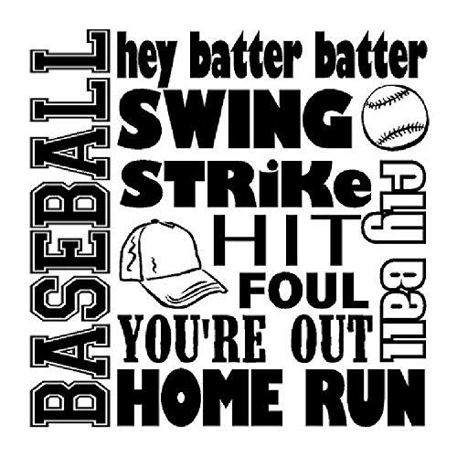 woyaofal Wandaufkleber Baseball Wanddekor Jungen Sport Spielzimmer Dekoration Abnehmbare Aufkleber Poster Wandbild 57X57 cm