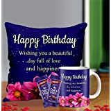 Midiron Birthday Gift for Girls, Birthday Gifts for Friends, Printed Cushion with Mug and Chocolate (16*16 in) IZ21-57 (9)