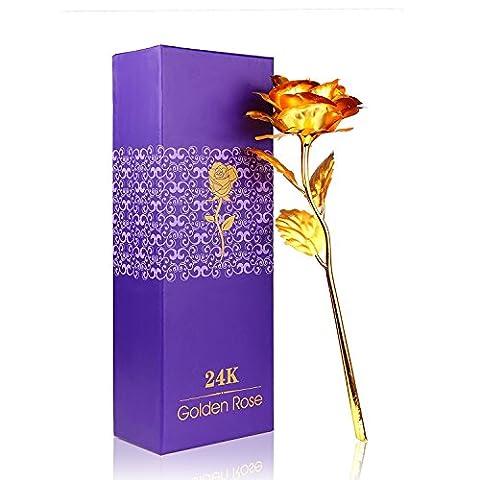 Rose 24K Gold überzogene Rosen Blume mit Geschenk Kasten Bestes Geschenk für Valentinstag Muttertag Weihnachtsgeburtstag Golden / Rot / Lila / Blau (Golden)