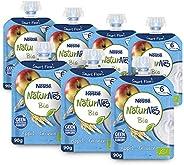 Naturnes Bio Knijpfruit Appel, Granen, Zuivel 6+ Maanden - 7 Knijpzakjes Van 90 Gram - babyvoeding