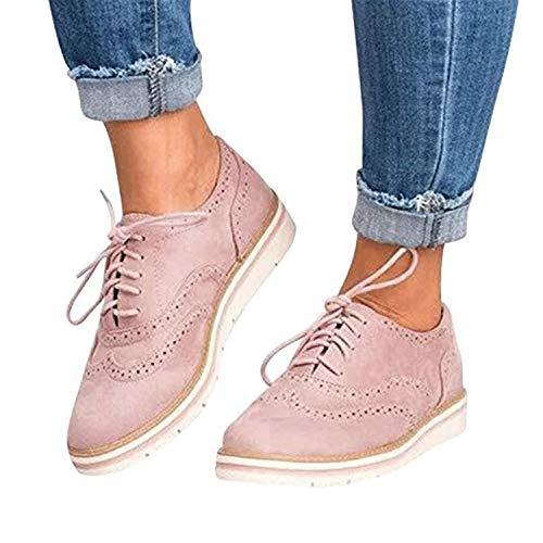 888e653ced94 Zapatos Oxford Mujer Casual Derby Cordones Calzado Plano Vestir Brogue  Primavera Verano Casual Uniforme Trabajo Sneaker