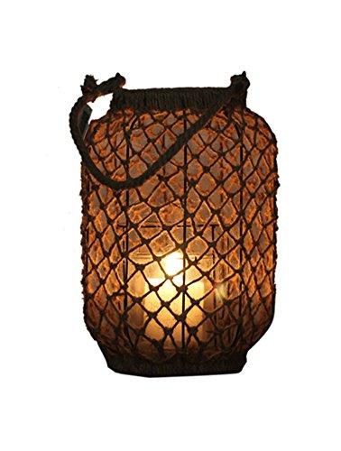 "Icegrey Handmade cinese lanterna corda di canapa lampada porta candele tealight, canapa, As Picture, 9.75"" in Length"