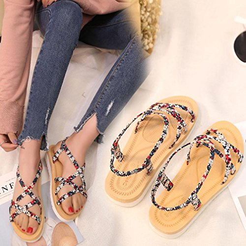 Transer® Damen Künstliches PU+Gummi Niedlich Sandalen Flach Draußen Drinnen Sandalen (Bitte achten Sie auf die Größentabelle. Bitte eine Nummer größer bestellen. Vielen Dank!) Rot