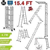4,7 m multiusos aluminio plegable extensión escalera escalera andamio bandeja de herramientas UK