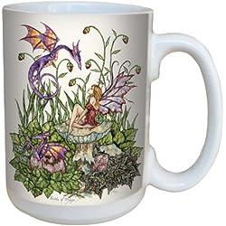 Árbol de-free lm43541 15 oz el nacimiento Tarjeta de felicitación de diseño de hada con mágica and Dragon taza de cerámica con mango completo