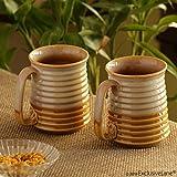 ExclusiveLane Beer & Milk Mugs Dual Glazed Studio Pottery In Ceramic (Set Of 2) - Beer Coffee Mug Set Of 2 Ceramic Beer Glass Cup Milk Glass Mug Big Glassware Drinkware