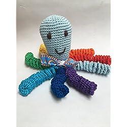 Pulpo de crochet para recien nacidos, pulpo amigurumi para bebés. Color Arcoiris multicolor
