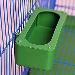 De plástico, diseño de pájaro de alimentos alimentación Plato Alimentador de agua cuenco con soporte gancho para Parrot Macaw africana Greys Budgies Periquitos Cockatiels Conure Jaula