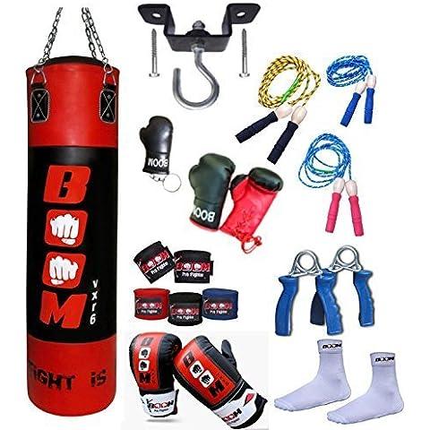 BooM Pro 1.2m Saco De Boxeo Golpeo, Bolsa Guantes, MMA Fitness, Gancho De Techo Entrenamiento Juego