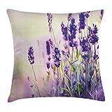 DCOCY Lavendel Überwurf, Traumhafte Spring Kissenbezug, Tag mit frischen Blüten aromatischen zarten Wild Blumen, dekorative quadratisch Accent Kissen Fall, 45,7x 45,7cm, Lavendel Flieder Grün