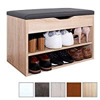 RICOO WM032-ES-A Shoe Rack Small 2 Tier Wooden Bench for Wardrobe Organiser Storage Box Cabinet Cupboard Stand Shelf with Seat | Sonoma Oak Effect Wood and Grey Cushion