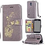 Owbb Hülle für Samsung Galaxy S5 Mini Handyhülle PU Ledertasche Flip Cover Wallet Case mit Stand Function Innenschlitzen Design Bunte Bronzing Schmetterling Blume Grau