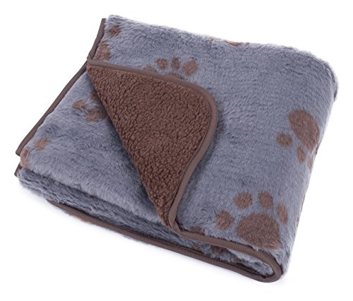 Pet Face Soft Sherpa Fleece Dog Blanket Warm Paw Print Puppy Comforter (Grey with Brown Detail) Best Price and Cheapest
