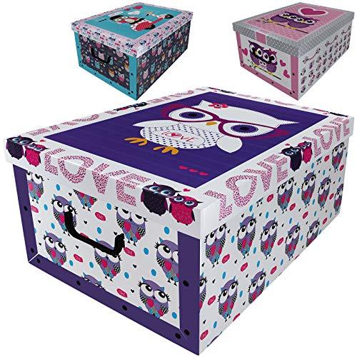 Aufbewahrungsbox 45L mit Deckel Eulen Design 3er Set Pappe Aufbewahrungskiste Truhe Aufbewahrung Schachtel