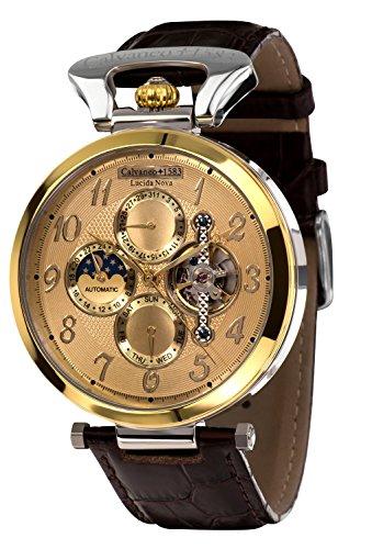 Calvaneo 1583 Herren-Armbanduhr Lucida Nova Gold-Stahl Analog Automatik Leder gold 107931