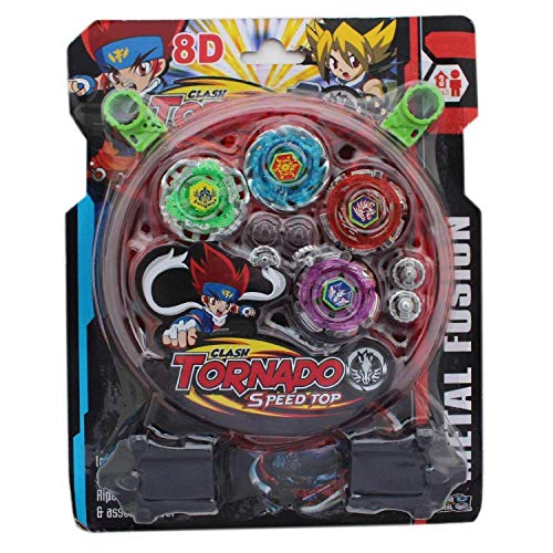 Leela Kid's Metal Beyblade Toy Pack with Ripchord Launcher 4 Blade (KPT-BeyBlade)