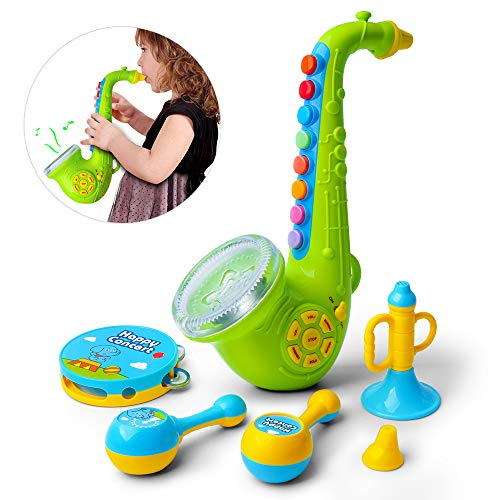 Gizmovine Musical Instruments, Kid Toys Baby Musical Toys Saxophone Drums Preschool Learning Toys for 2 3 4 Years Old Boys