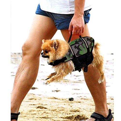 AOLVO Dog Life Jacke, Hund Freeride Weste Gerät Lifesaver Camo für Schwimmen-ungiftig, verstellbar, atmungsaktiv, umweltfreundlich-Badeanzug Weste Pet Life Preserver Mit Reflektorstreifen für Hund -
