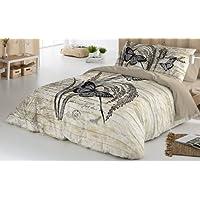 COTTON ART - funda Nordica Modelo MARIPOSAS BEIGE cama de 150 / 160 (240x260cm) + 2 FUNDAS DE ALMOHADA (45X80cm) ALGODÓN 100% Disponible para cama de 90 105 135 150 y 180.