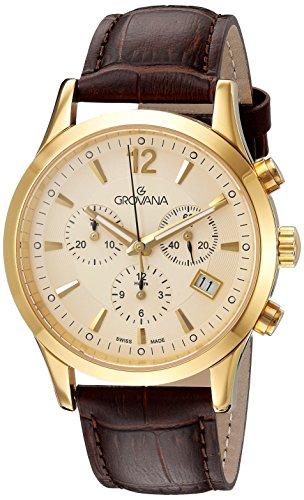 grovana 1209.9511 men's quartz swiss watch with gold dial chronograph display and brown leather strap