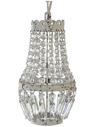 Antike Lampe Weiß (kleiner Kronleuchter mit nur einer Glühbirne Shabby Lüster Kristallleuchter Hängelampe Antik Weiß Creme Lampe Kristalle Vintage)