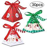 Weihnachten Geschenkbox, 30 Stück Keksschachtel Pralinenschachtel mit Bänder Hängeetiketten für Weihnachten Geschenk Weihnachtsdeko Weihnachtsbaum Dekoration