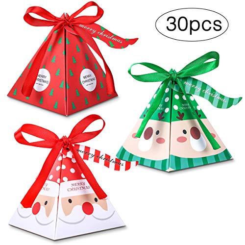 Melliex 30pcs scatole caramelle di natale scatole in carta regalo con nastro e etichetta per la festa di natale