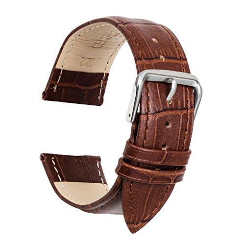 Ullchro Uhrenarmband Ersatzarmband Echtes Korn Leder Uhrenarmbänder Genähte Edging - 12, 14, 16, 18, 19, 20, 21, 22, 24 mm Armbanduhr mit Edelstahl Silberne Schnalle (19mm,...