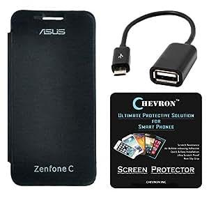 Chevron Flip Cover Case with Chevron HD Screen Guard & Micro OTG Cable for Asus Zenfone C ZC451CG (Black)