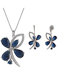 SHAZE Silver-Colored Blue Sapphire Butterfly Pendant | Necklace for Women